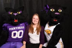 Sarah with Mascots